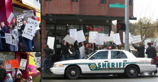 Protesters and counter-protesters in Seattle