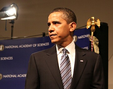 President Barack Obama gives a speech at the National Academy of Sciences on April 27, 2009. Photo by Patricia Pooladi courtesy National Academy of Sciences.