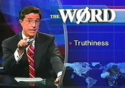 "Click for ""truthiness"" on Wikipedia"