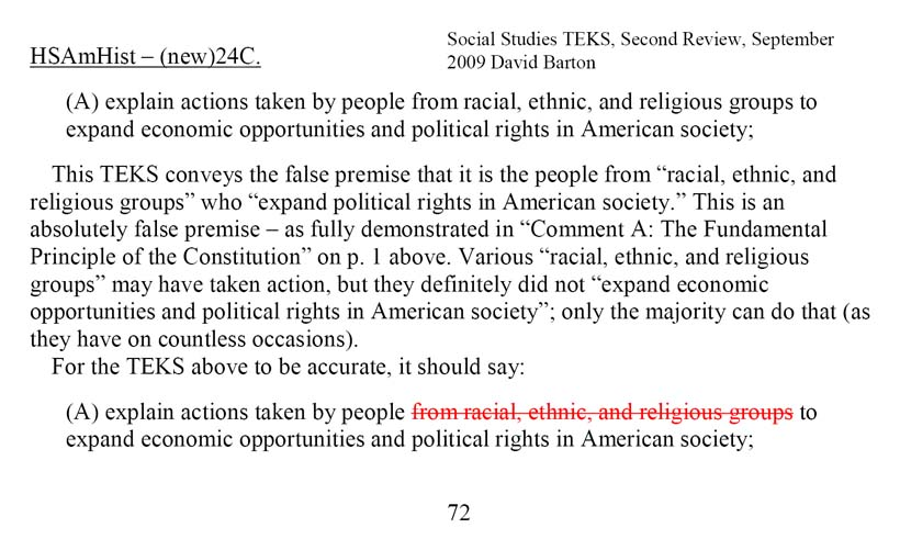 "HSAmHist – (new)24C. (A) explain actions taken by people from racial, ethnic, and religious groups to expand economic opportunities and political rights in American society; This TEKS conveys the false premise that it is the people from ""racial, ethnic, and religious groups"" who ""expand political rights in American society."" This is an absolutely false premise – as fully demonstrated in ""Comment A: The Fundamental Principle of the Constitution"" on p. 1 above. Various ""racial, ethnic, and religious groups"" may have taken action, but they definitely did not ""expand economic opportunities and political rights in American society""; only the majority can do that (as they have on countless occasions). For the TEKS above to be accurate, it should say: (A) explain actions taken by people from racial, ethnic, and religious groups to expand economic opportunities and political rights in American society;"